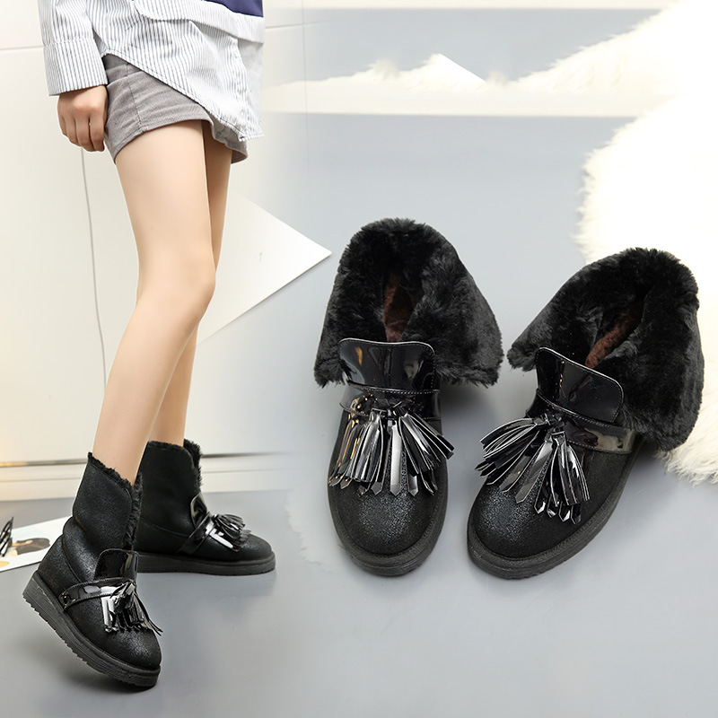 Womens boots winter 2017 new arrive flat shoes ankle boots tassel flock platform snow boots keep