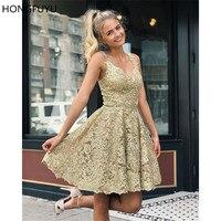 HONGFUYU элегантный трапециевидной формы кружево Homecoming сладкий 16 платья для женщин Мини Короткие платье для выпускного вечера, лиф сердечком З