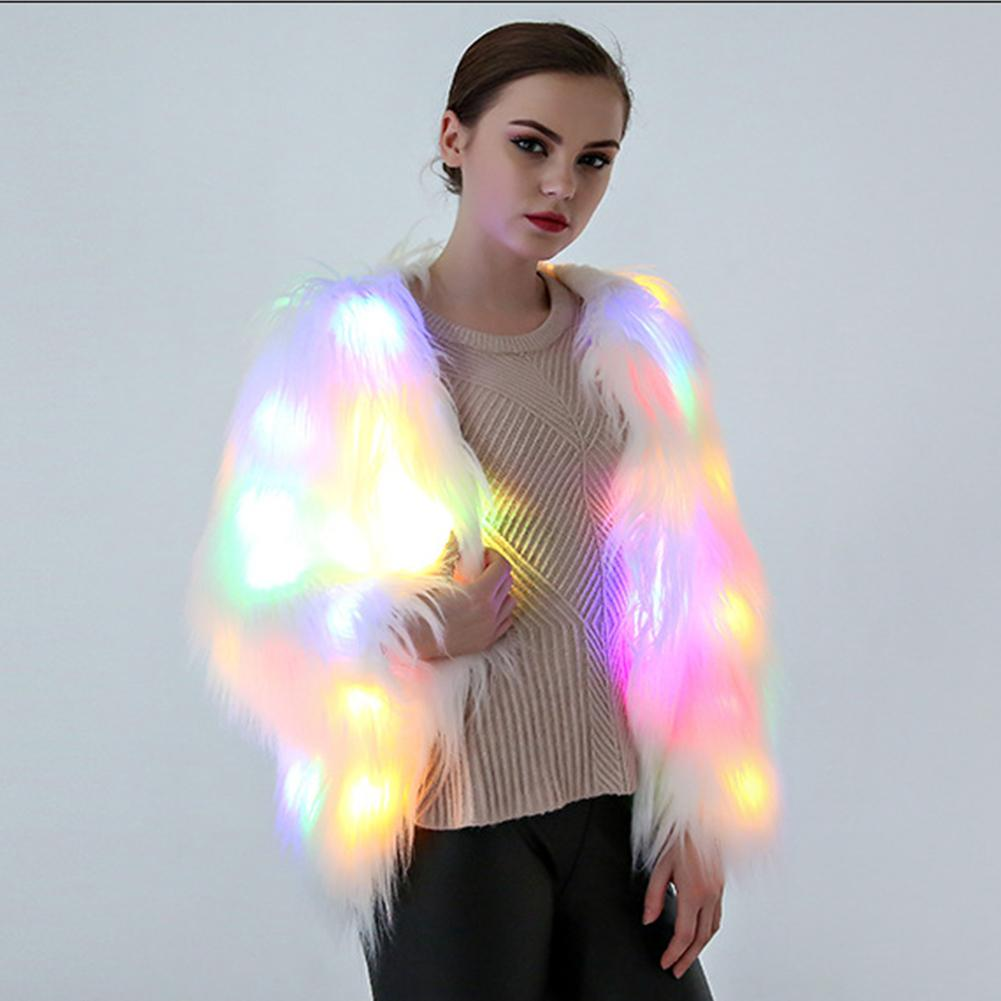 Yfashion lumière LED Festival fausse fourrure manteau Cosplay noël halloween Costume Club fête fausse fourrure manteaux veste femme