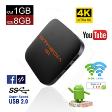 цена Android 7.1 tv box media player G1 S905W 1GB RAM 8GB ROM iptv set top box 4Kx2K HD 2.4G Wifi smart tv box youtube freesat в интернет-магазинах