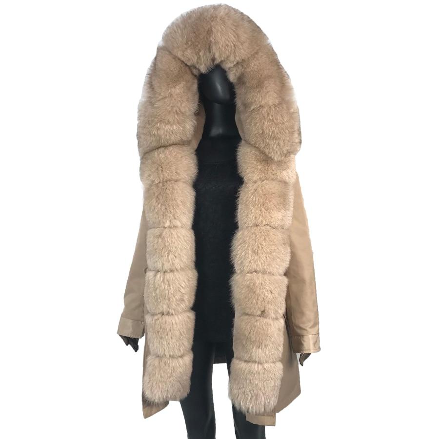 Parka avec fourrure de renard grand col en fourrure de renard et doublure fourrure de lapin épais chaud mode nouveau détachable style décontracté manteau de fourrure naturelle