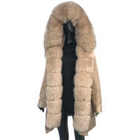 parka with fox fur big large fox fur collar and liner rabbit fur thick warm fashion new Detachable Casual style natural fur coat
