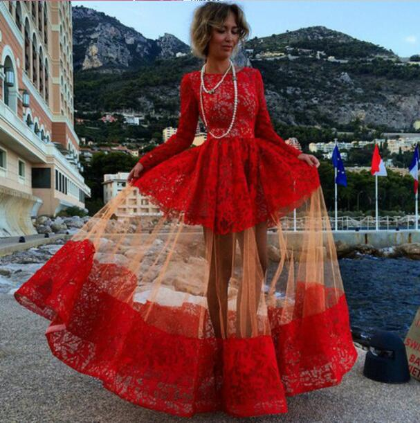 5c6e89b8c 2016 Red Long Prom Dresses Long Sleeves Puffy Illusion Skirt Gorgeous  Evening Gowns