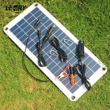 LEORY 18V 10.5W Portable Solar Panel Charger Polycrystalline Sunpower Solar Cells For Camping Car 12V Battery 5V Phone