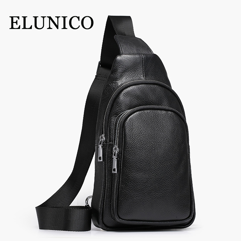 ELUNICO Brand Men Genuine Leather Chest Bag Man Purse Leisure Boy Small Bag Mens Casual Business Cowhide Leather Travel Bag