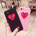 Fashion lovely Plush embroidery love eyes phone cases Korean Style for iPhone 6 6s 6sp 6plus for iPhone 7 7plus back cover