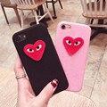 Moda encantadora amor bordado de la Felpa ojos cajas del teléfono del Estilo de Corea para iphone 6 6 s 6sp 6 plus para iphone 7 7 plus contraportada