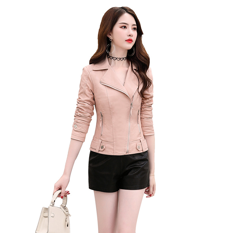 New Slim Short PU Faux   Leather   Jacket Zippers Long Sleeve Womens   Leather   Outerwear Female New 2019 Autumn Fashion Coat Ladies