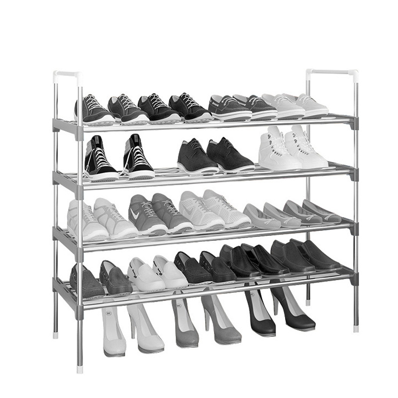 Simple Shoe Rack Stainless Steel Door Shoes Storage Removable 4 5 6 Tiers Shelf Furniture Large Space Saving Shoe Organizer