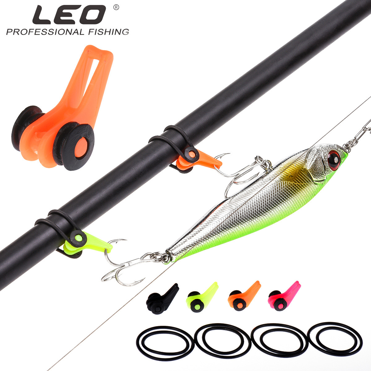 LEO Fishing Hook Secure Keeper Holder 27851 Lure Hang Device Fishing Tackle Pesca Silicone Ring Black Orange Pink Green