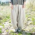 XianRan Mulheres Calças Verão Outono Bolsos Das Calças Harém Calças De Linho Soltas Plus Size Calças de Alta Qualidade Frete Grátis