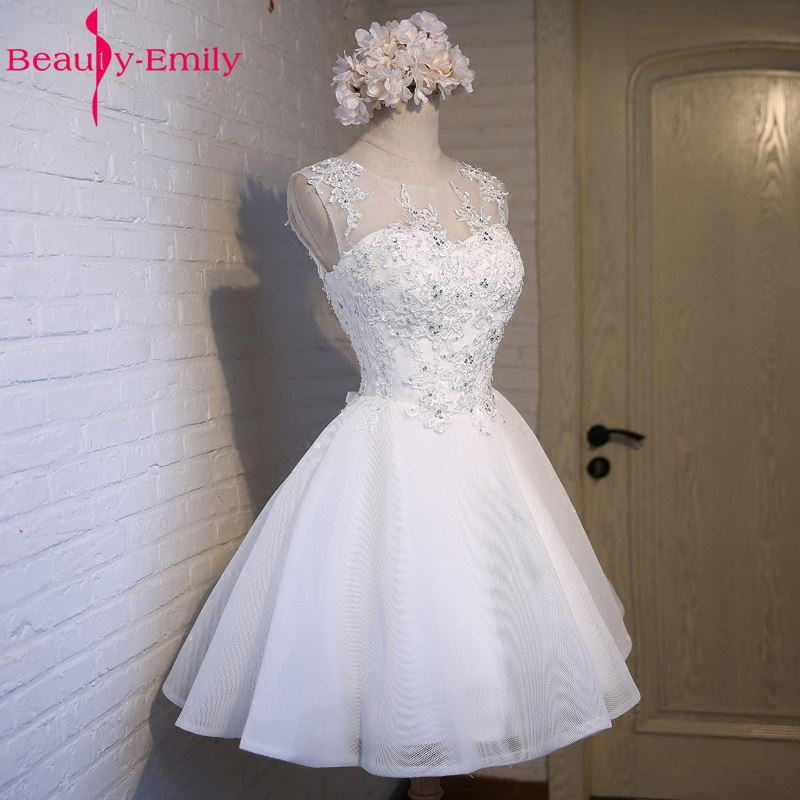Real Photos Ivory Tulle Prom Dresses 2019 Scoop Appliques Lace Up Knee Length Prom Dress Short