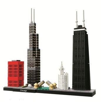 BELA Architecture Chicago Skyline Building Blocks Sets City Bricks Classic Model Kids Toys Compatible Legoe 21035 lego
