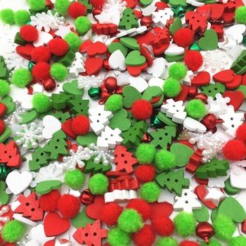 300 sztuk świąteczne etui z pompony drewna choinka przyciski jingle bells Snowflake gwiazda perły ozdoby do scrapbookingu DIY rzemiosło tanie i dobre opinie Yiasangly 2-otwory przycisk NONE flatback Ekologiczne 23545 Barwienie Kwiat Christmas Bag Red White Green Mixed 8-13mm