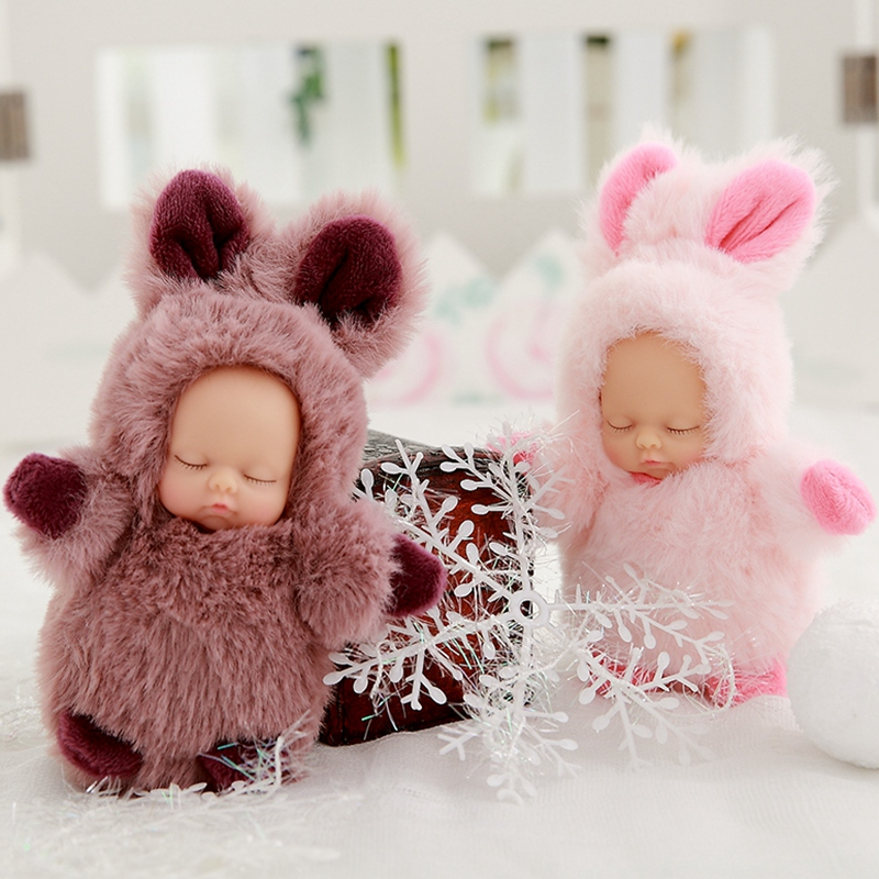 Mini 12cm kawaii sleep baby dolls plush toys Bjd bebe bear rabbit doll Key chain Pendant for kids girl Christmas birthday gift