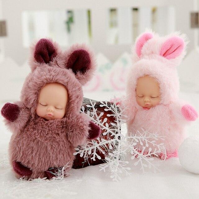 Mini 12cm kawaii sleep baby dolls plush toys Bjd bebe bear rabbit doll Key chain Pendant for kids girl Christmas birthday gift