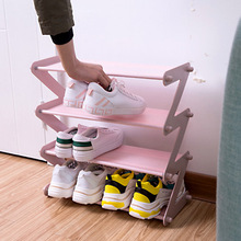 Stainless Steel Assembled Shoe Cabinet Non-woven Shoe Rack 4 Layer Shoe Storage System Cabinets Shoe Hanger Home Furniture