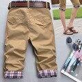 Мужская Мода Повседневная Лето Пледы Проверяет Карманы Стриженые Zip Брюки Черные мужские брюки-Карго harajuku Homme pantalon homme