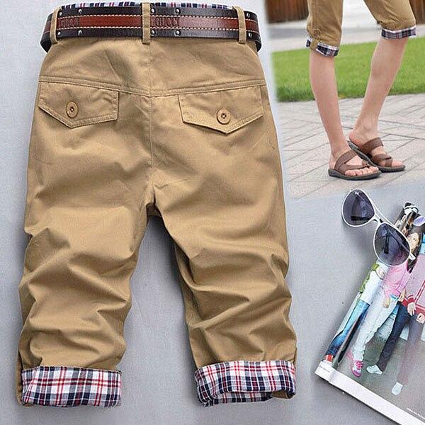 Casual Plaids Verano Moda hombre Comprueba Bolsillos Corsario Zip Negro pantalones Cargo de Los Hombres harajuku Homme pantalon homme