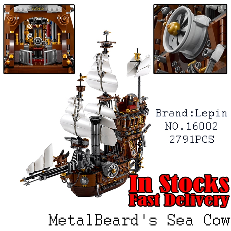 2016 LEPIN 16002 Pirate Ship 2791pcs Metal Beard's Sea Cow Model Building Kits figures Blocks Bricks Compatible free shipping lepin 2791pcs 16002 pirate ship metal beard s sea cow model building kits blocks bricks toys compatible with 70810