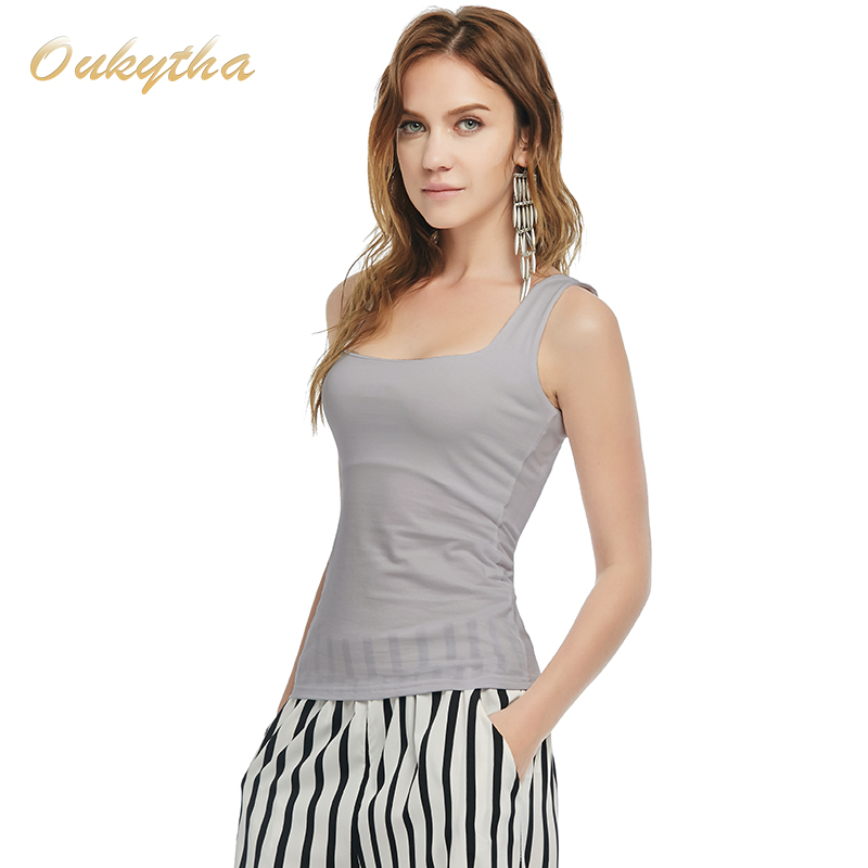 Oukytha 2017 Summer Sexy Low-cut Basic T-shirts Tank Top Solid Cotton Self-cultivati Sleeveless Camisole Tops Women's Vest 2090