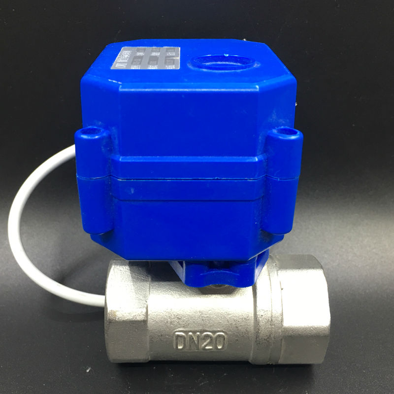 Free Shipping DC3-6V (5V) Stainless Steel BSP 3/4'' Electric Motorized Ball Valve DN20 Actuated Valve 2 Control Wires shipping free dc5v 1 stainless steel electric ball valve dn25 electric motorized ball valve 2 wires cr01 wiring