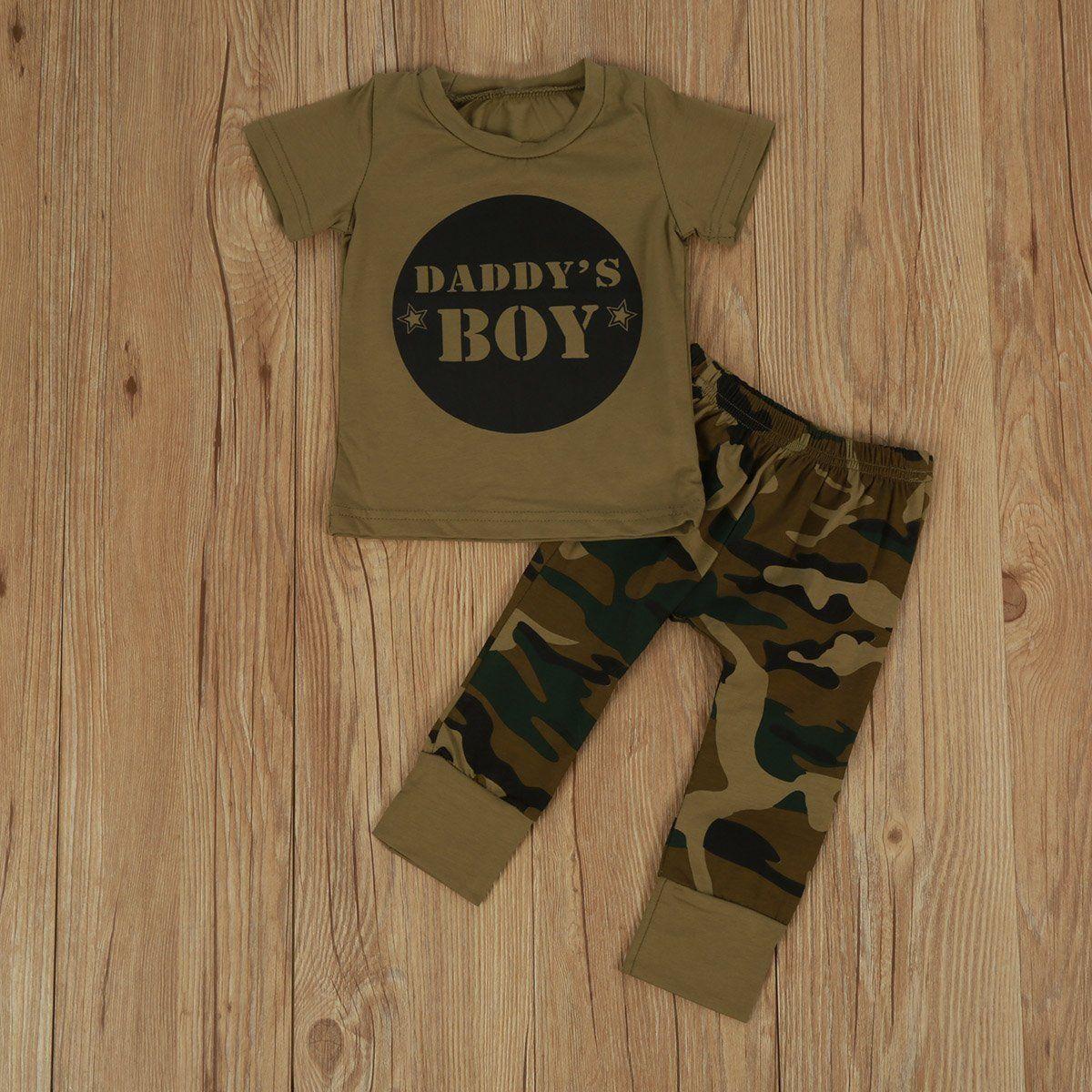 Toddler Kids Chłopcy Dziewczęta Topy Camo T-shirt Spodnie Letnie - Ubrania dziecięce - Zdjęcie 4