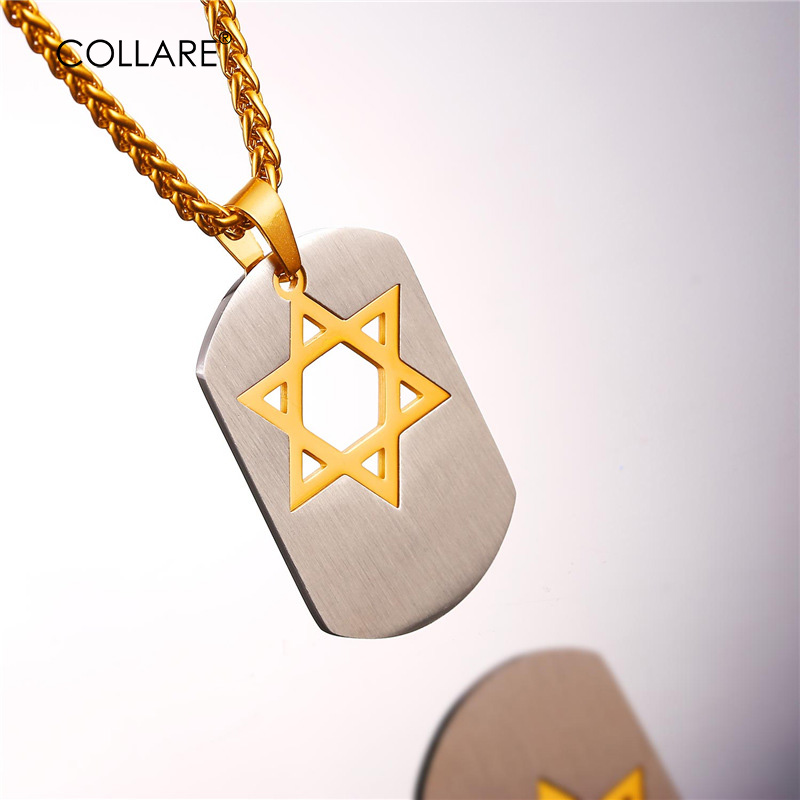 Collare Magen David Star Pendants Mens Dog Dog 316L Stainless Steel Stainless Jewel Jewel Gold / Black Color Israel Necklaces Women P028