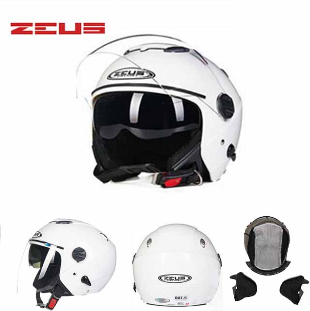 цены DOT  WHITE  ZEUS double lenses motocross motorcycle helmet ZS-202FB open face motorbike helmets  bike scooter 9 colors