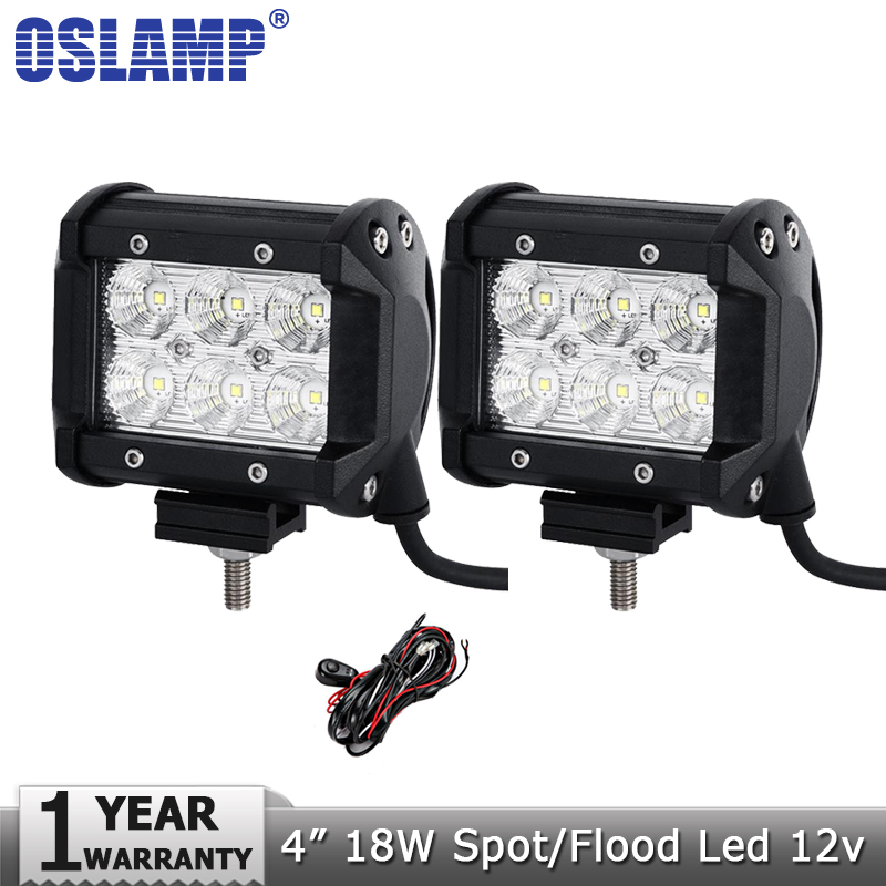 Oslamp 4inch 18W LED Working Light+Wire 12v 24v Spot Flood Beam Led Work Lamp Driving Lights Offroad Boat 4x4 Truck 4WD ATV SUV catuo 2017 4inch 18w led work light motorcycle tractor boat off road truck suv atv flood offroad fog lamp 12v work light