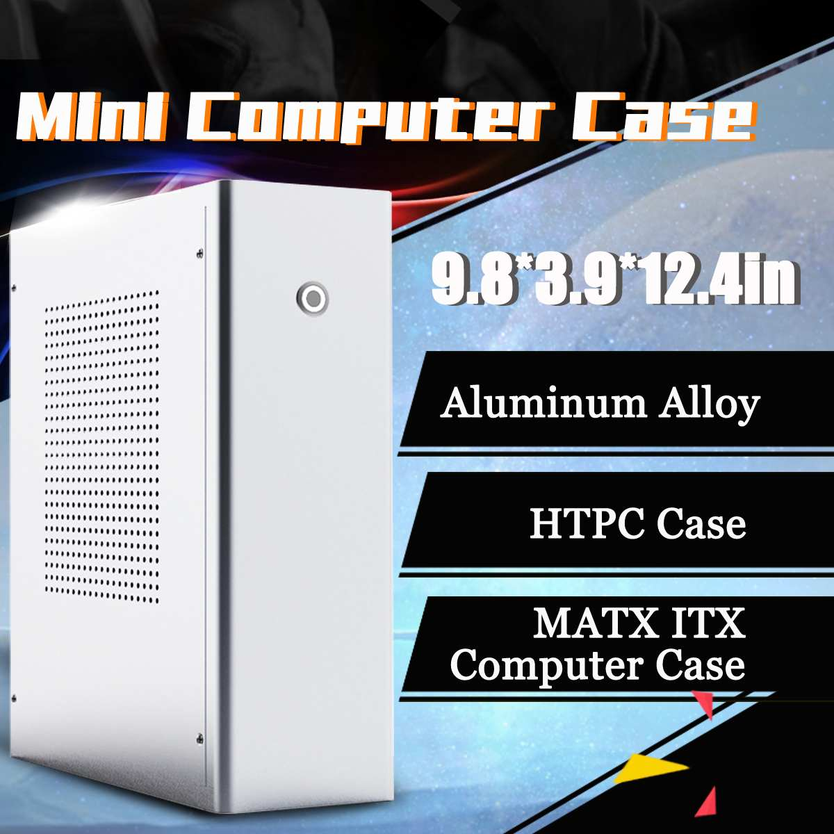 M1 Aluminum Alloy mATX ITX Computer Case HTPC Case Support 1U Flex Power Supply 250x100x315mm Super Thin Body Design