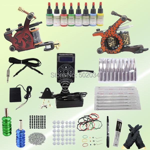 EMS&DHL Freeshipping Top-seller Professional 2 Machine Gun Tattoo Kit 1 dual LCD Tattoo Power Kit 10 Ink 5ml Grip Needle K067 dhl ems 2 lots 1pc smc mgj6 10 a2