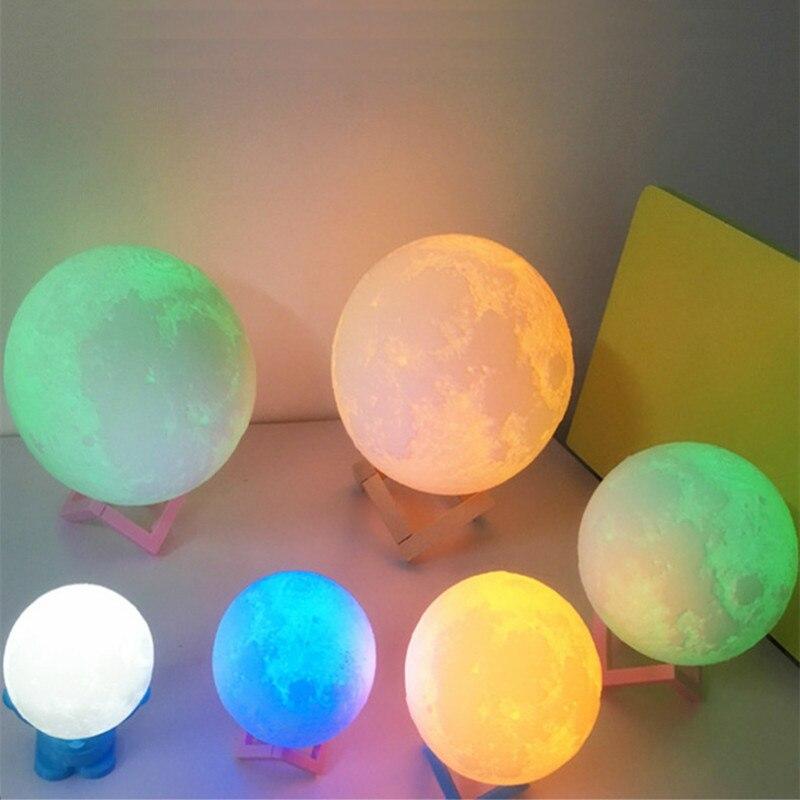 Перезаряжаемые ночник 3D свет луны лампы 9 Цвет изменить сенсорный переключатель Спальня книжный шкаф Ночная Домашний Декор подарок для дет…