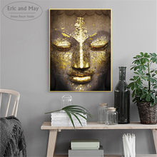 Buddha Face Gold Artwork Posters and Prints Wall art Decorative Picture Canvas Painting For Living Room Home Decor Unframed(China)