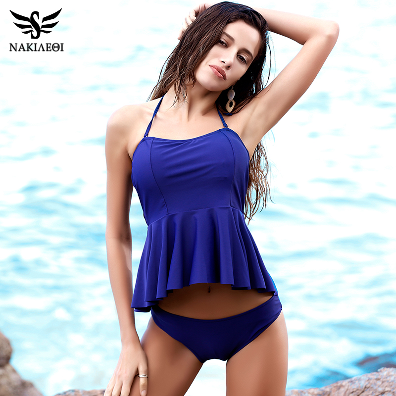 NAKIAEOI 2017 New Bikinis Women Swimsuit Push Up Swimwear Dress Halter Vintage Retro Bikini Set Beach Wear Bathing Suits Female nakiaeoi 2017 new sexy bikinis women swimsuit push up swimwear bandage cut out bikini set halter beach bathing suits swim wear