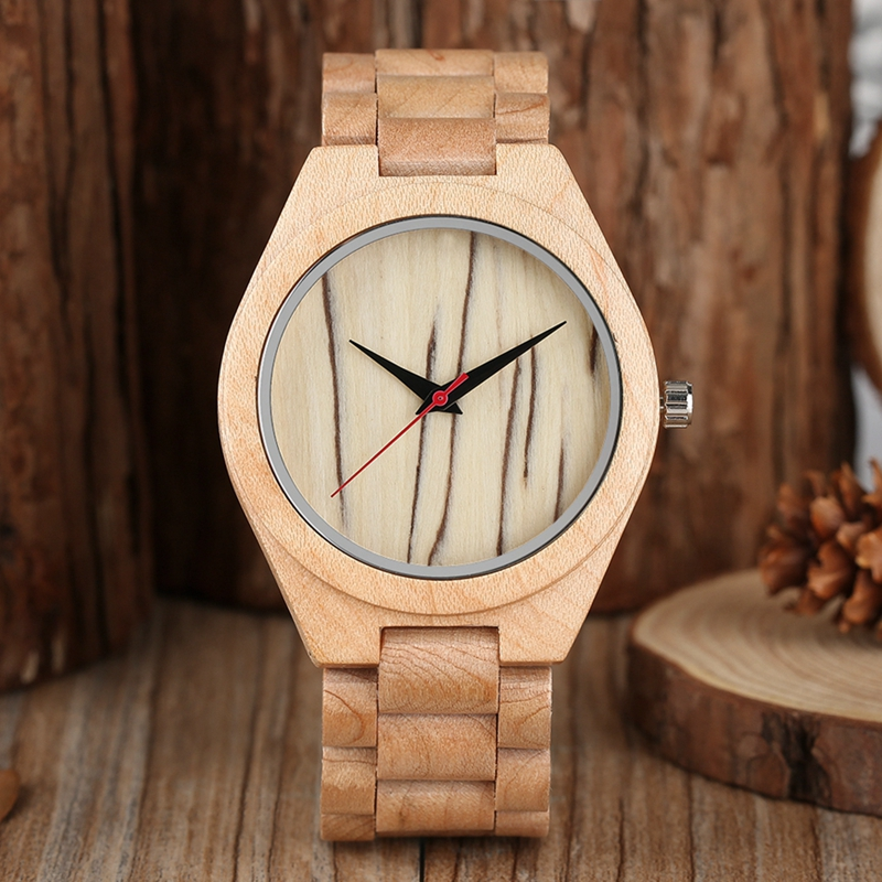 Bamboo Wooden Watch for Men Unique Lug Design Top Brand Luxury Quartz All Bamboo Wood Band with Japanese Movement For Xmas Gifts