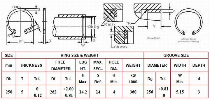 RTW 250) DIN472 внутреннее стопорное кольцо(внутренние стопорные кольца RTW) JB4343