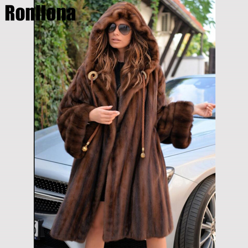 2018 nuevo abrigo de piel de visón Real con capucha grande chaqueta de piel genuina de mujer abrigo de invierno de lujo de visón Natural talla grande MKW-203
