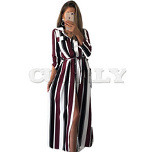 CUERLY Stripe Maxi Dress 2019 Office Lady Turn-Down Collar Button Long Shirt Women Autumn Summer Sleeve Dresses