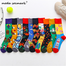 Moda Socmark 2019 New Arrival Men Happy Socks Cartoon Funny for Women Brand Fashion Casual Cotton Couple Long