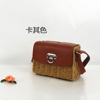 College wind new paper rope frame cow nose lock fashion straw bag travel beach shoulder diagonal female bag