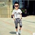 2016 летние новые дети комплект одежды 2 ~ 7 возраст мальчиков спортивный костюм мультфильм зебра O-образным Вырезом T-shirt + брюки хлопок детская одежда