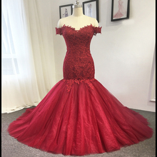 AMANDA NOVIAS red wedding dress 2019 model mermaid lace
