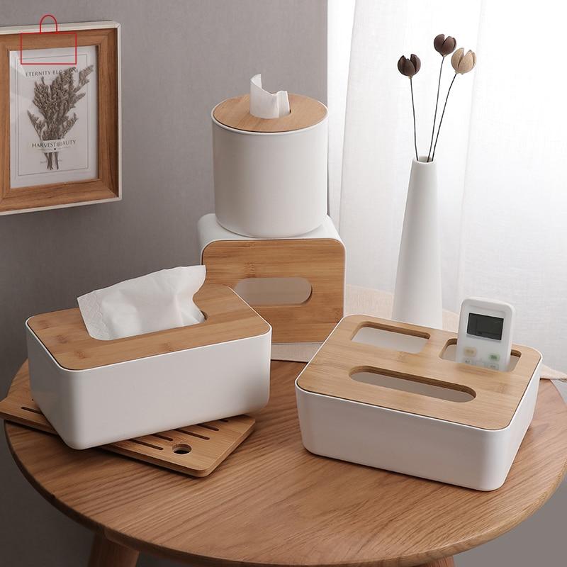 Home Kitchen Wooden Plastic Tissue Box Solid Wood Napkin Paper Holder   S /%