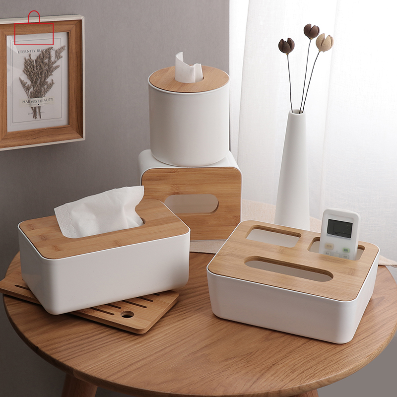 RSCHEF Hjem Køkken Træ Plast Tissue Box Massiv Træ Serviet Holder Case Simple Stilfuld