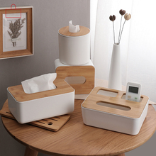 OUSSIRRO Enjoy Life Home Kitchen Use Wooden + Plastic Tissue Box Modern Design Solid Wood Napkin Case Simple and Stylish