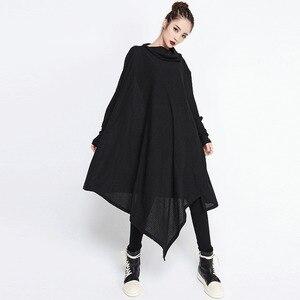 Image 5 - [EAM] 2020 חדש אביב חורף גבוה צווארון ארוך שרוול שחור סדיר Hem Loose גדול גודל ארוך שמלת נשים אופנה גאות JG636