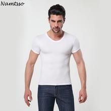Мужское модальное однотонное нижнее белье, облегающее нижнее белье с коротким рукавом, дышащее нижнее белье с круглым вырезом