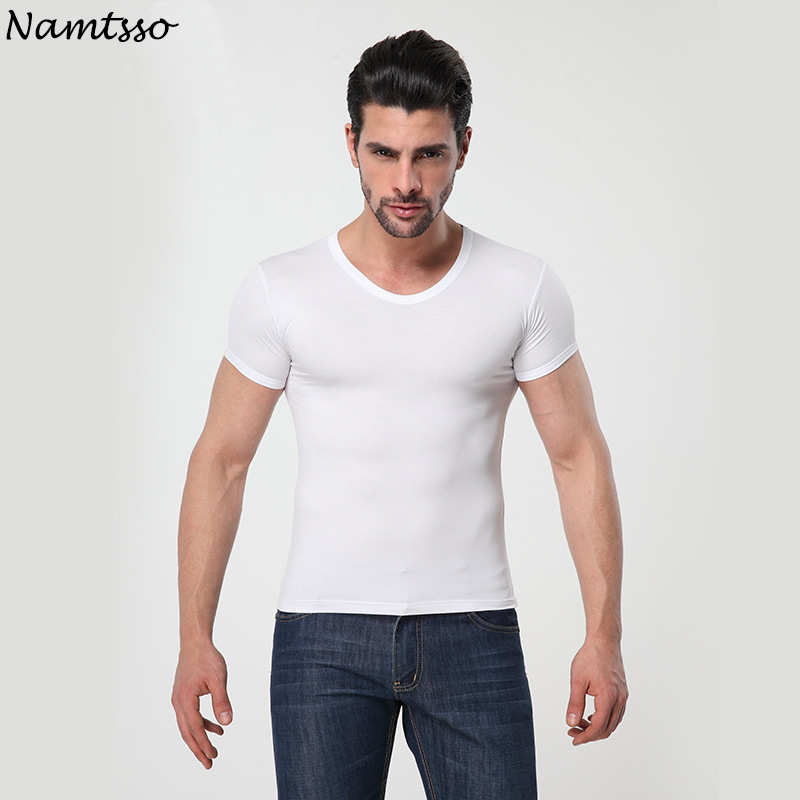 Mens MODAL Solid color underwear clothing close-fitting short sleeve Relax breathable strench O neck undershirts ...