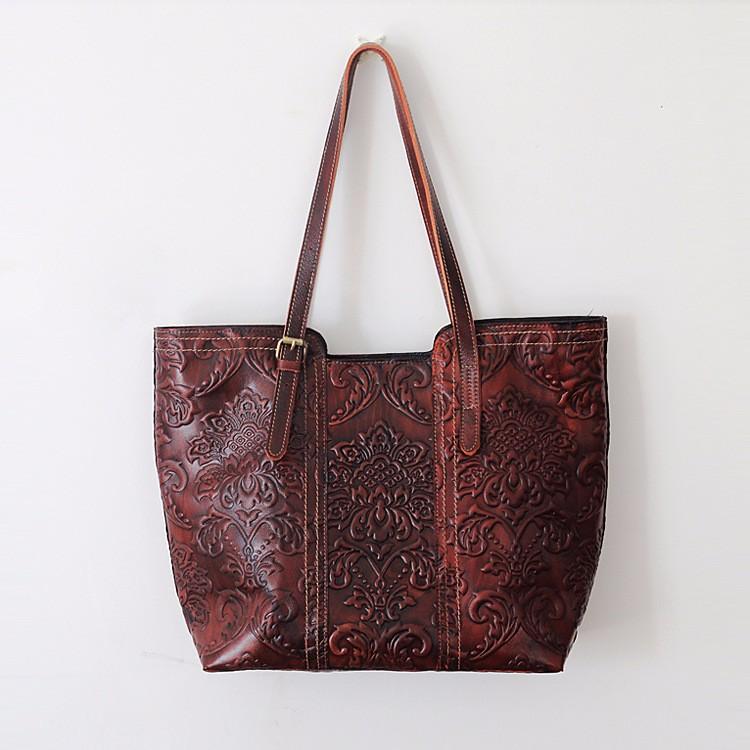 075c5055b2047 Handmade kobiety warzyw opalania skórzane torby kwiaty tłoczenie ...